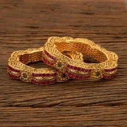 Rubygreen Brass Antique South Indian Matte Gold Bangles 202473 for Wedding