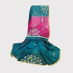 Peacock Blue and Purple Handloom Saree