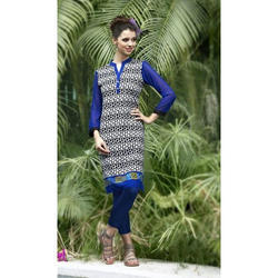 Blue Cotton Ladies Kurti