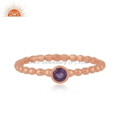 Designer Rose Gold Plated Silver Amethyst Gemstone Ring Jewelry For Girls