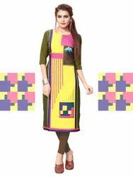 multi colour crepe kurti