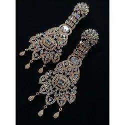 Golden, White Fashionable Artificial Drop Earrings