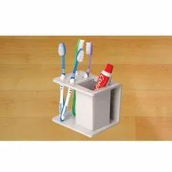 AR White Acrylic Toothbrush Holder, For Residential