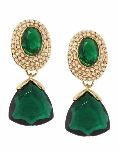 Green Stone Pearl Earring