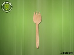 Birtchwood Wooden Disposable Spork, Size: 165mm, for Party Supplies