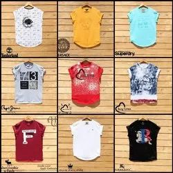 Cotton Sleeve Less Mens Round Neck T Shirts, Packaging Type: Poly Bag