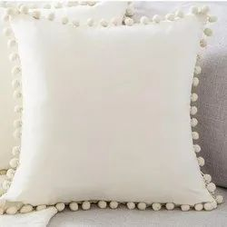 Cotton Cushion With Pom Pom