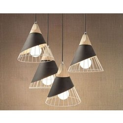 Ceiling Mount Cone Shaped White and Black Hanging Lamp
