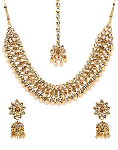 a08f597e067e1 Necklace Set - Gold Plated White Kundan Choker Necklace Earrings ...