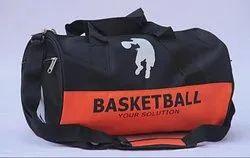 Black And Orange Printed Basketball Kit Bag