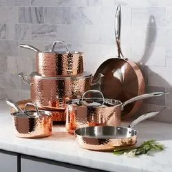 Hammered Cookware, Pots and Pan Set Copper Surface