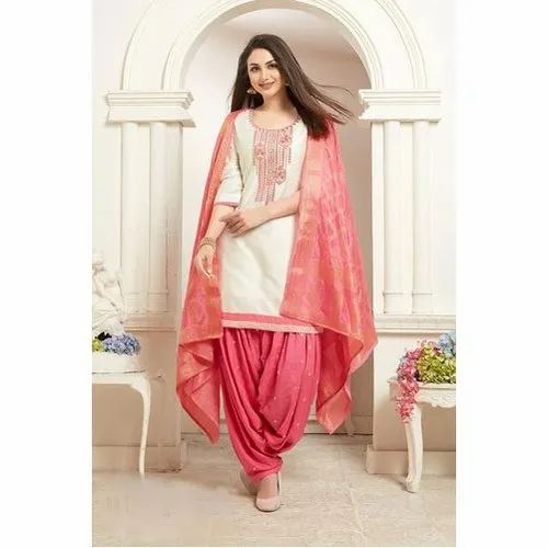 Party Wear White and Pink Patiala Salwar Kameez Suit