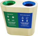 M S Powder Coated 2 in 1 Recycle Bin