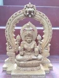 Traditional Wooden Laxmi 12 Inch Statue, For Home