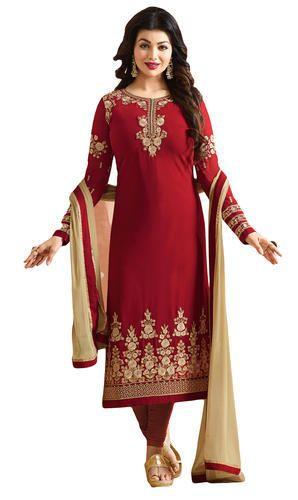 eaac315471 Georgette Red Womens Stylish Party Wear Heavy Embroidery Salwar Kameez