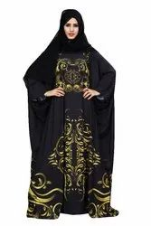 Black Color Free Size Abaya Burqa For Women With Chiffon Hijab