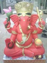 Ganesh Ji Red Marble Statue
