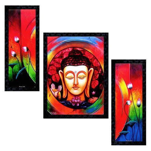Set Of 3 Modern Art Lord Buddha Framed Wall Painting Ptu558 At Rs 299 Piece Modern Art Paintings Id 20315150948