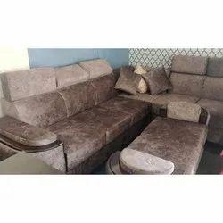 Oak Wood(Frame) Modern Velvet L Shape Sofa Set, For Home