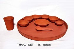 Red Clay Thali Set, Round, Packaging Type: Box