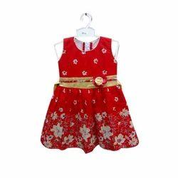Regular Wear Printed Red Kids Frock