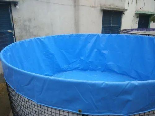 Blue 650 Gsm Pvc Coated Tarpaulin Biofloc Fish Farming Tanks