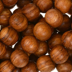 Brown Round Wood Bead