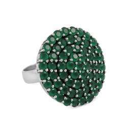 Paradise Bloom 925 Sterling Silver Green Onyx Gemstone Ring
