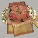 Linen Digital Prints Saree