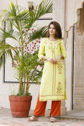 Stitched Lime Green Lemon Rayon Hand Embroidered Kurti With Palazzo