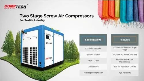 High Efficiency Screw Air Compressor  For Textile Industries