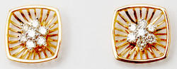 Adorable Tanishq Style Earrings With Center Diamond Clustter in Cushion Gold Cage