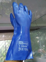 Printed blue Pvc Supported Gloves, 11-15 Inches, Finger Type: Full Fingered