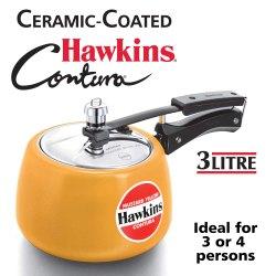 2.04 Kg Aluminium Hawkins Contura Mustard Yellow, Capacity: 3 Litres