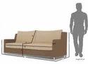 Modern Straight Line Sofa Set (Brown & Beige)