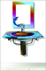 Sparkle Wall Mounted Glass Wash Basin Full Set, Shape: Rectangular, Model No.: 5108