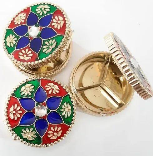 Multicolor Round Kum Kum Box Kankavati, For Home