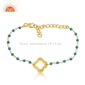 Clover Design Gold Plated Silver Turquoise Gemstone Beaded Bracelets Jewelry