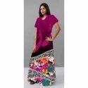 Large Half Sleeves Long Printed Ladies Cotton Gown