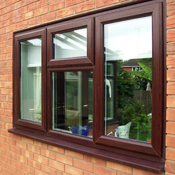 WOOD BASED COLOR Glossy UPVC Window, Glass Thickness: 4mm