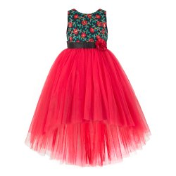 Party Wear Female Red & Black Combo Kids Wear Gowns, Packaging Type: Poly Packing