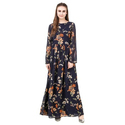 Cotton Fancy Maxi Dress With Floral Print, Size: S - Xl