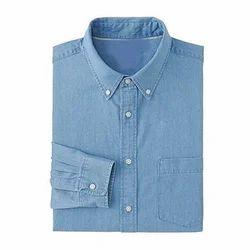 Full Sleeves Men Plain Denim Shirt