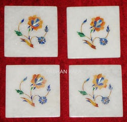 Inlay White Marble Coasters Sets