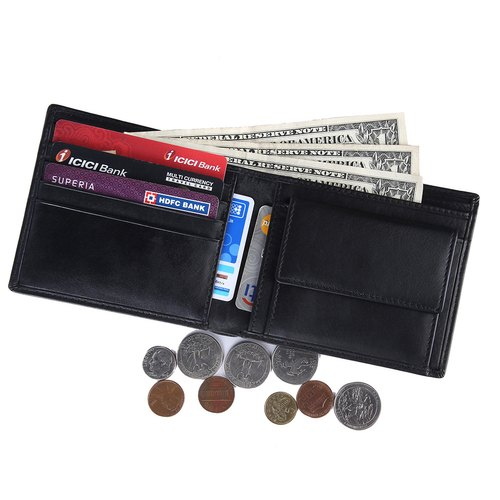 Men/'s Genuine Leather Bifold 5 Credit Card Money Wallet with Coin Pouch Black