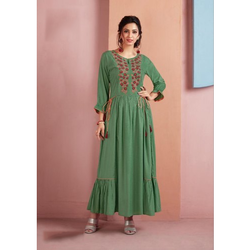 Ladies Long Rayon Anarkali Kurti