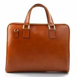 Brown Plain Leather Office Bag
