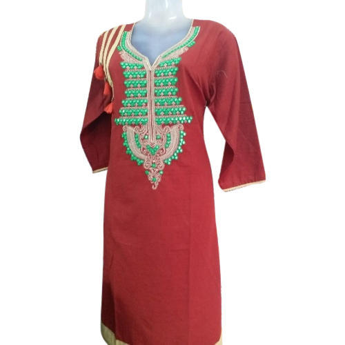 Medium And XL Straight Ladies Embroidered Kurti
