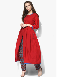 Stylish Red Kurti with Printed Pant