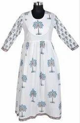 10 Cotton Hand Block Print Women's Long White Kurti Dress DR582